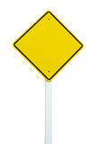 Blank yellow traffic sign isolated. On white background stock photo