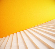 Blank yellow wall and stairs. Side view of interior with bright yellow wall and stairs. Mock up, 3D Rendering Royalty Free Stock Photo