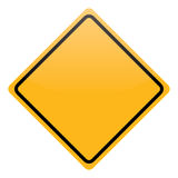 Blank yellow warning sign isolated Stock Images
