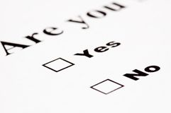 Blank yes/no form. Illustrating the alternative choice stock photo