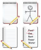 blanka anteckningsbokblyertspennor stock illustrationer