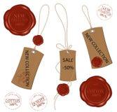 blanka bruna bunden wax för förseglingsrad etiketter stock illustrationer