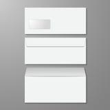 blanka kuvert Öppnat och stängt, med mjuka skuggor, på grå färger b Royaltyfri Fotografi