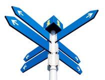 Blanka riktningsvägmärken Fotografering för Bildbyråer