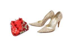 blanka skor för elegant handväska Royaltyfria Bilder