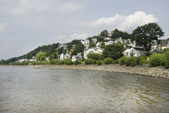 Blankenese, Hamburg, Germany 02. Blankenese is a posh suburb of Hamburg, The beautiful houses of Blankenese in the foreground the river Elbe Stock Photography