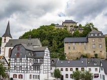 Blankenheim skyline, North Rhine-Westphalia, Germany. Under a moody overcast summer sky royalty free stock photo