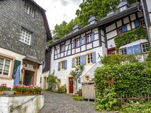 Blankenheim streetscape in North Rhine-Westphalia, Germany. On an overcast summer day royalty free stock images