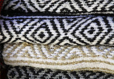 Blanket. Subtle Colors of Hand Woven Mexican Blanket Royalty Free Stock Images