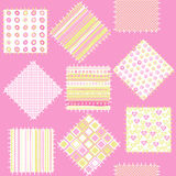 Blanket for baby girls with pink patches Royalty Free Stock Photo