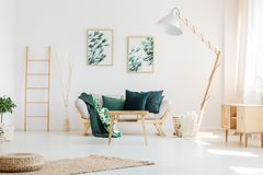 Living room with ladder stock image