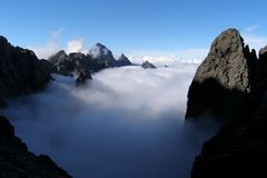Blanket of clouds, mountains of Corsica Stock Photo