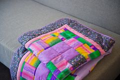 Blanket made of fabric rags 3023. Stock Photos