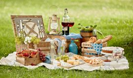 Blanket with picnic food set on green grass Stock Photos