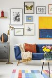 Blanket and pillow placed on navy blue couch standing in white l. Iving room interior with many posters and gold lamp stock photos