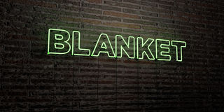 BLANKET -Realistic Neon Sign on Brick Wall background - 3D rendered royalty free stock image Royalty Free Stock Images