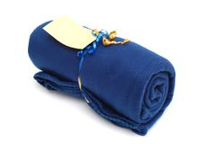 A blanket roll. A blue blanket roll in winter time Royalty Free Stock Image