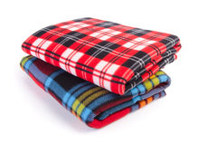 Blanket, Soft warm blanket on background Stock Photos