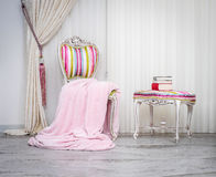 Blanket throw. On the chair royalty free stock photography