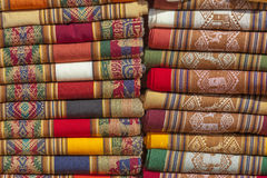 Blankets of andean colors. Stock Photo
