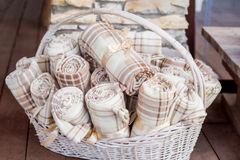Blankets in a basket Royalty Free Stock Photography