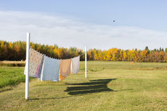 Blankets hanging on clothesline Stock Images