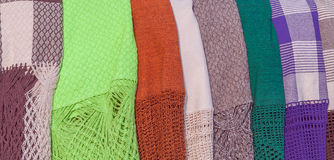 Blankets made of colorful fabrics in street sale Royalty Free Stock Photography