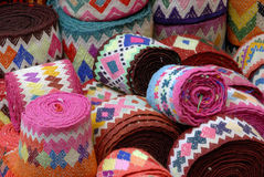 Blankets on a Market Stall. Rolled Blankets on a Peruvian Market Stall Stock Photography