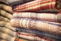 Blankets piled up Stock Image