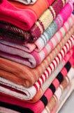 Blankets for Sale in Sagarnaga street, La Paz, Bolivia stock photo