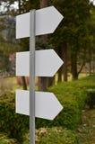 Blanko-Rückseite-Seite von drei Indikatorplatten Lizenzfreie Stockfotos