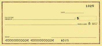 Blankoscheck mit falschen Zahlen Lizenzfreie Stockfotografie