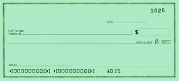 Blankoscheck mit falschen Zahlen lizenzfreie stockbilder