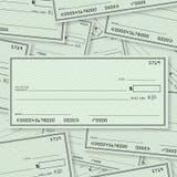 Blankoscheck-Stapel-Hintergrund-offener Raum für Text Stockfotos