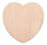 Blanks for decoupage. Wooden heart isolated on white background Stock Photos