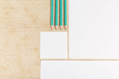 Blanks of empty paper with pencils. Stock Photography