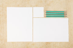 Blanks of empty paper with pencils. Stock Images