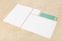 Blanks of empty paper with pencils. Stock Image