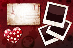 Blanks instant photo, postal card and heart Royalty Free Stock Image