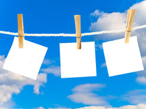 Blanks white note against the blue sky Royalty Free Stock Image