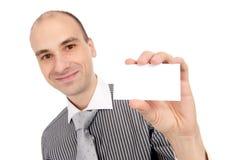 blankt affärskort som räcker mannen royaltyfria foton