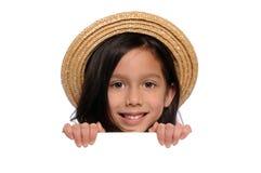 blankt barn för flickaholdingtecken Royaltyfri Fotografi