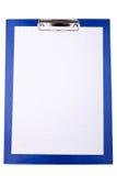 blankt blått clipboardpappersark Royaltyfri Bild