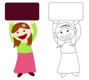 blankt flickaholdingtecken Fotografering för Bildbyråer
