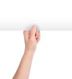blankt handholdingpapper upp white royaltyfri foto