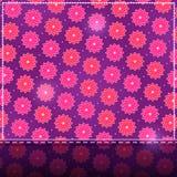 Blankt kort med den rosa blommamodellen Royaltyfri Foto