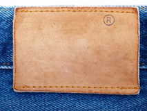 blankt läder för etikett för tygjeanjeans Royaltyfria Bilder