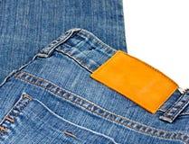blankt läder för jeanetikettlady Arkivfoton