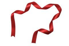 Blankt rött satängband royaltyfri bild