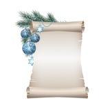Blankt scrollpapper för jul på vit bakgrund royaltyfri illustrationer